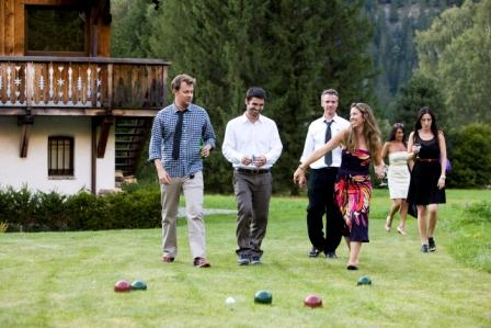 friends playing bacci ball in Chamonix