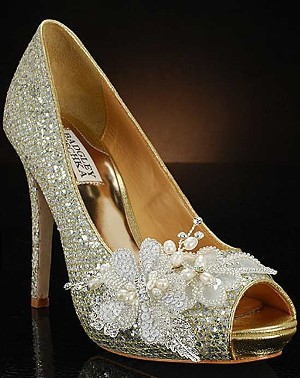 badgley mischka sparkly bridal shoe