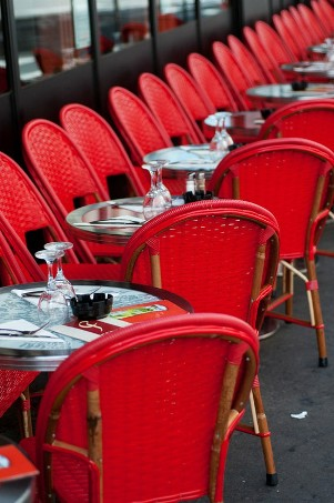 red cafe chairs