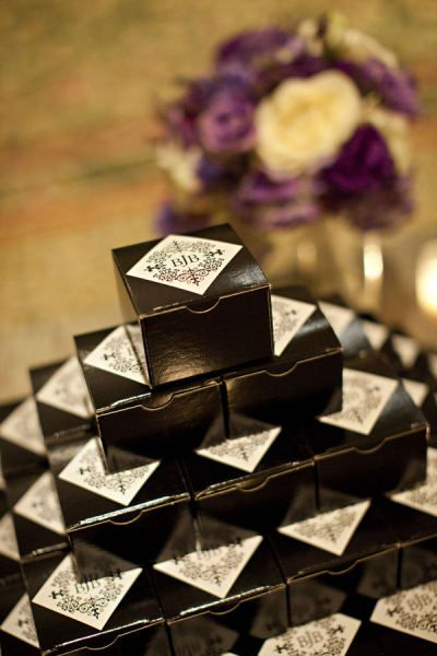 black and white wedding favours