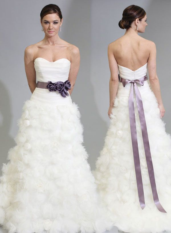 white wedding dress with lavender sash #weddingdress