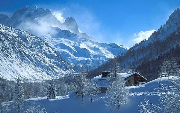 snowy chamonix