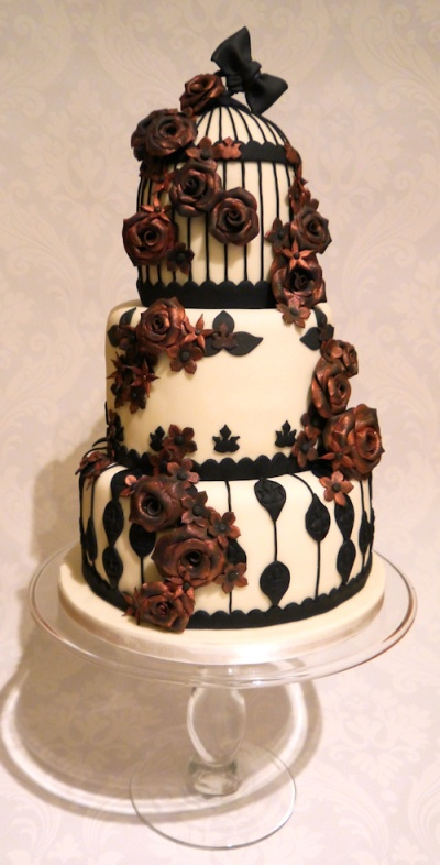 birdcage chic wedding cake