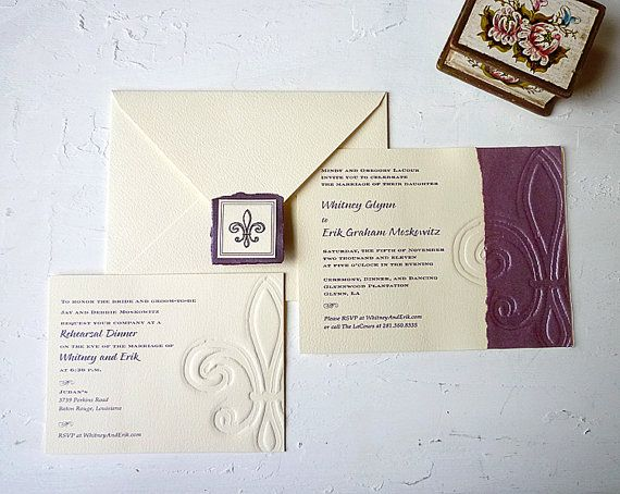 fleur de lis wedding stationery