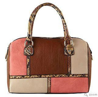 pink and brown handbag