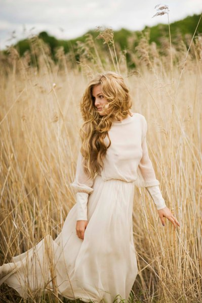 Leila hafzi sustainable bridal collection for Boho country wedding dress