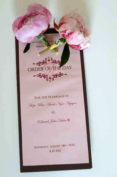 pink and chocolate wedding stationery