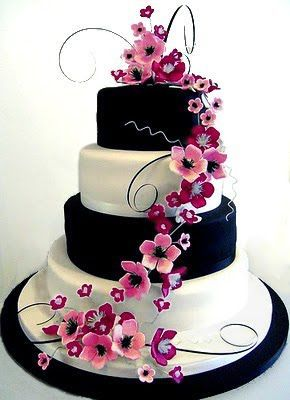 fuchsia and black wedding theme cake