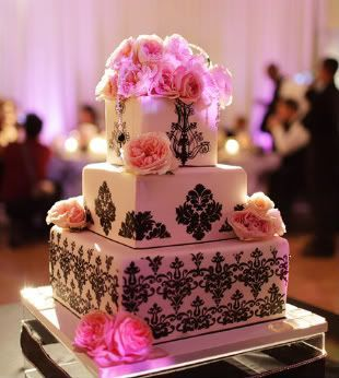 black pink and white wedding cake