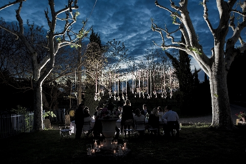 dramatic night wedding