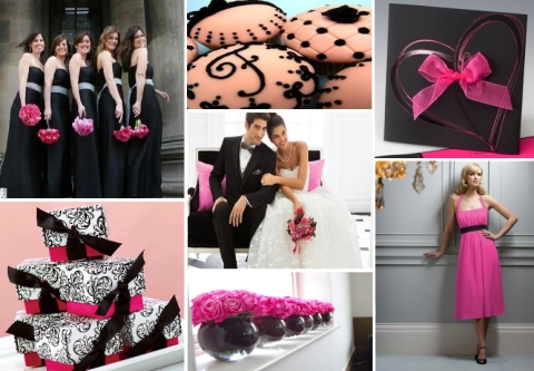 fuchsia and black wedding theme design
