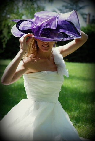 bride purple hat