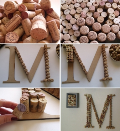diy project wine corks monogram