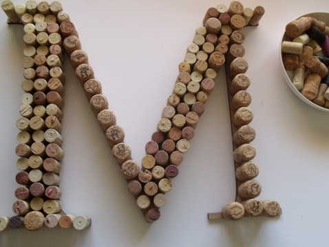 diy wedding wine cork letters