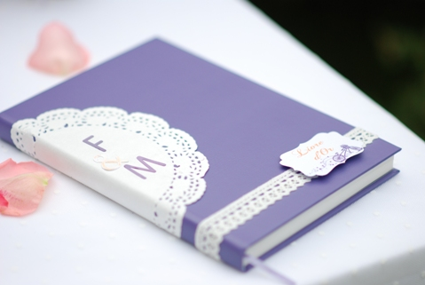 purple wedding guest book