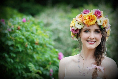 real flower bridal headdress