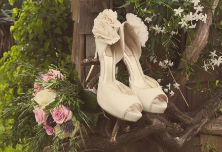 shabby chci bridal shoes © - Christy Blanch Photography / French Wedding Style Blog