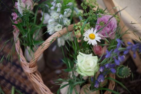 wicker basket wedding flowers