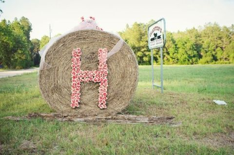 haybale wedding sign