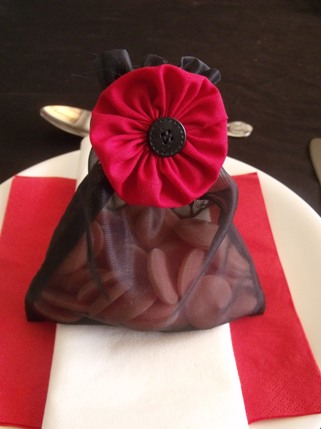 red poppy wedding favour