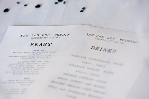 black and white wedding menus