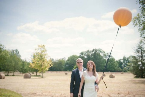 orange balloon wedding