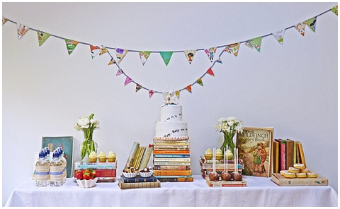 retro book dessert table