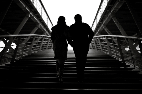 silhouettes on stairs