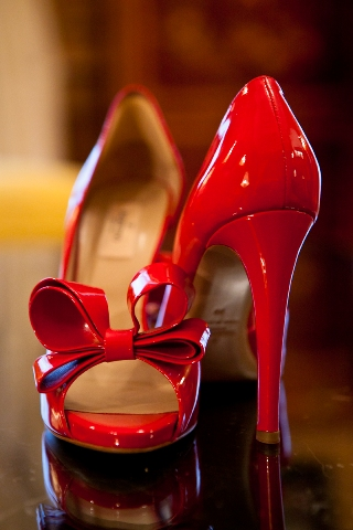 vintage red wedding shoes