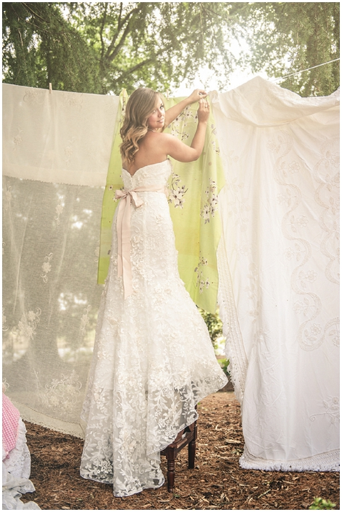 bride and bedsheets