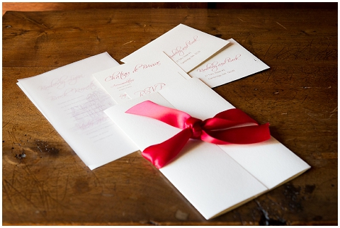 red wedding stationery