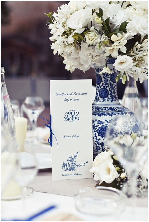 blue white wedding details