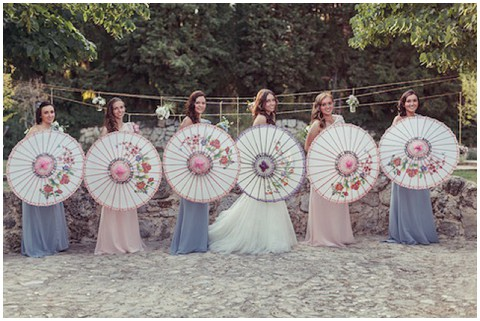 bridesmaid parasols