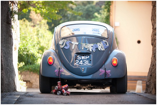 just married retro car