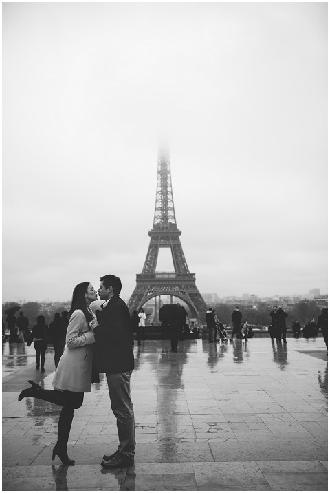 rainy eiffel tower