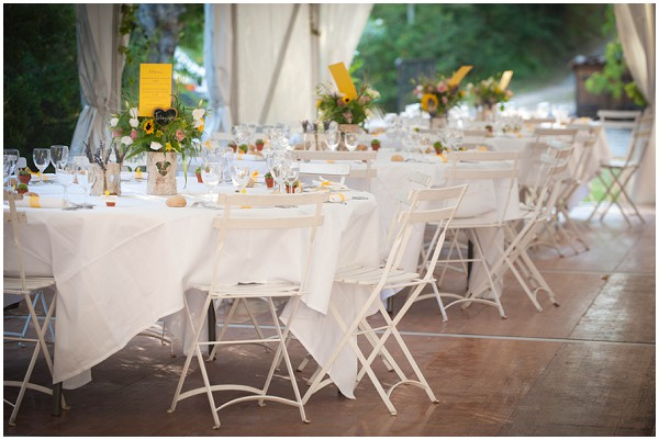 yellow wedding tables