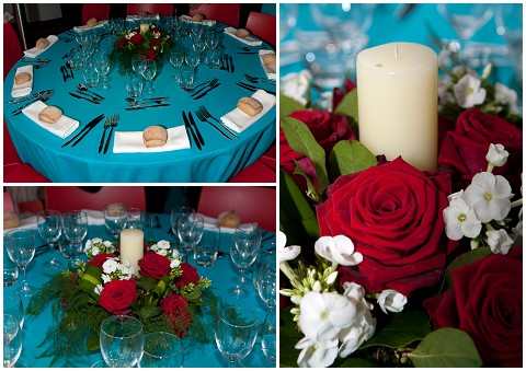 Belle Momenti teal red wedding