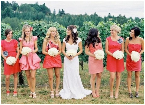 coral wedding bridesmaids