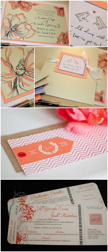 coral wedding stationery