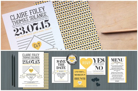 yellow and black wedding stationery