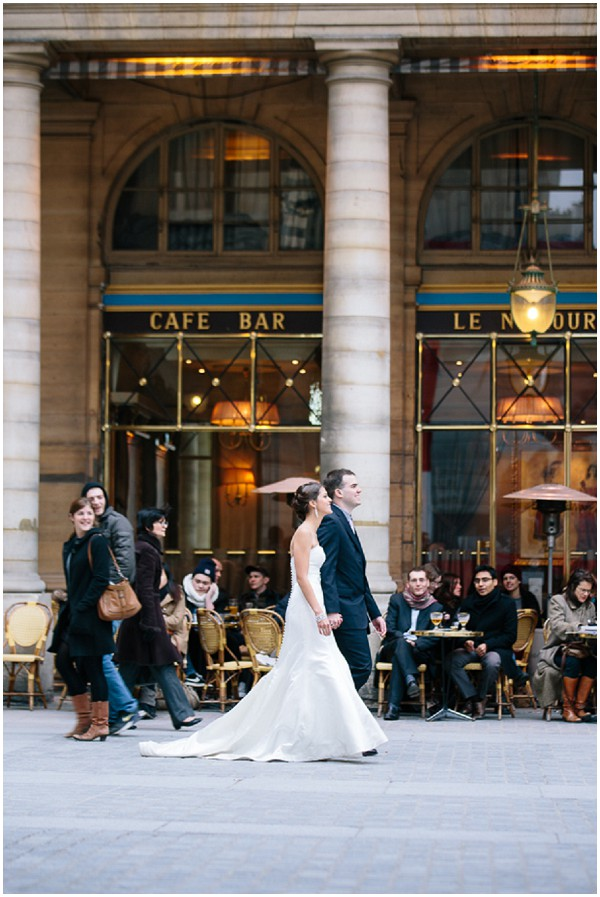 bride walking streets paris