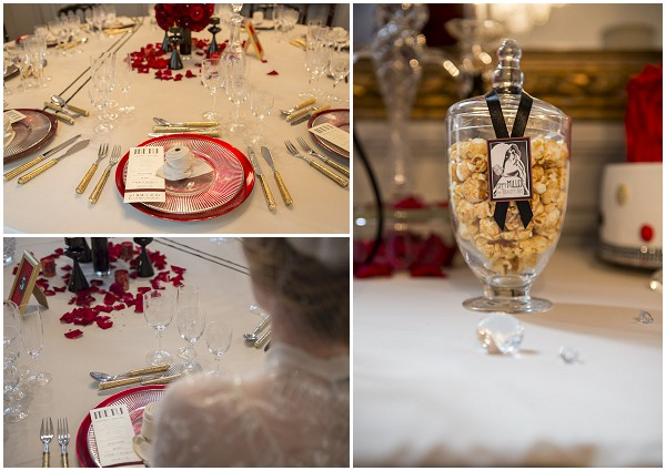 black red wedding table