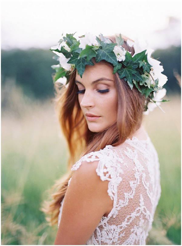 boho bride with floral crown