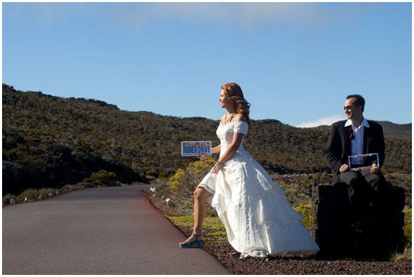 bride hitching a ride