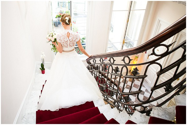 bride descending stairs
