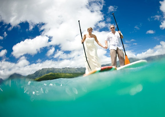 paddle boarding trash the dress
