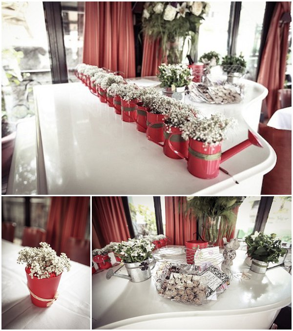 red watering cans wedding