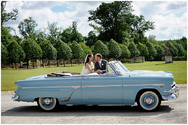 vintage blue wedding Car
