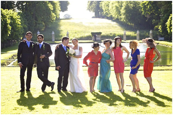 colourful bridal party
