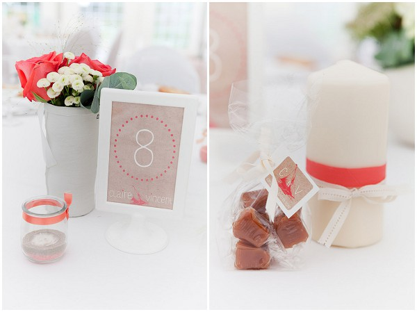 white and orange wedding decorations